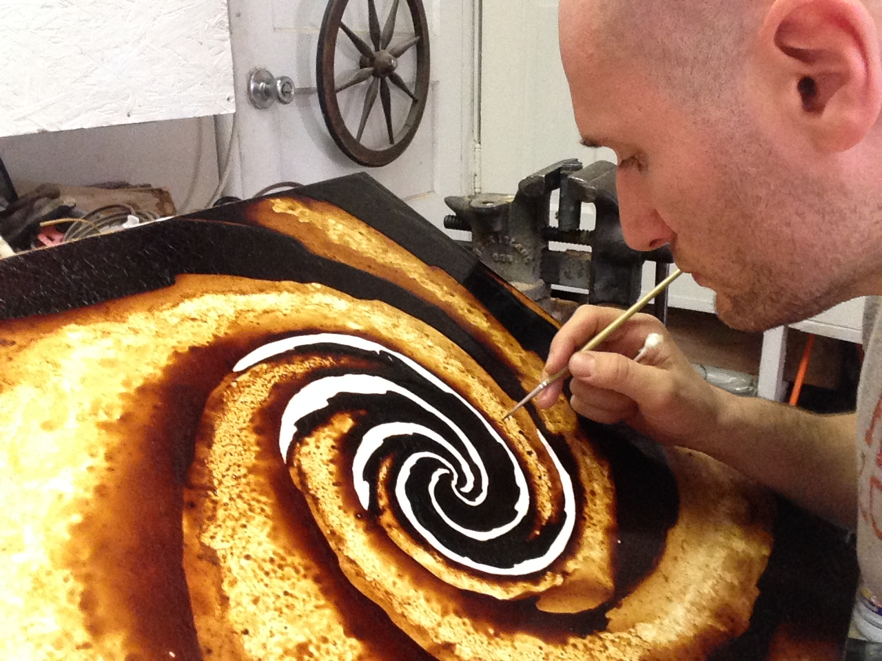 Working on the Galactic Spiral Coffee Art piece.